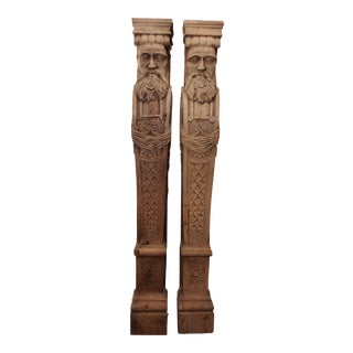 19th century Carved Oak Wood Architectural Figures