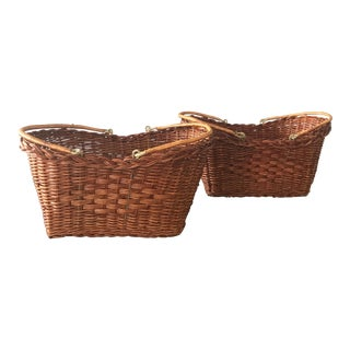 Rattan Carrying Baskets - A Pair