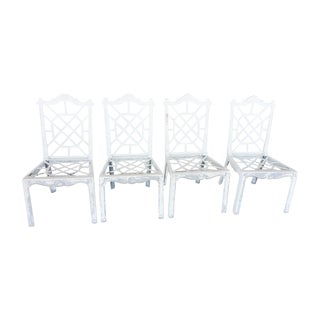 Metal Fretwork Patio Chairs - Set of 4