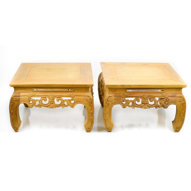 Carved, Stripped Wood Asian Low Tables - a Pair - Image 2 of 7