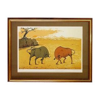 Vintage Fighting Bulls Lithograph: Aldo Pagliacci