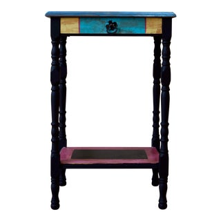 Small Vintage Hand Painted Side Table With Drawer