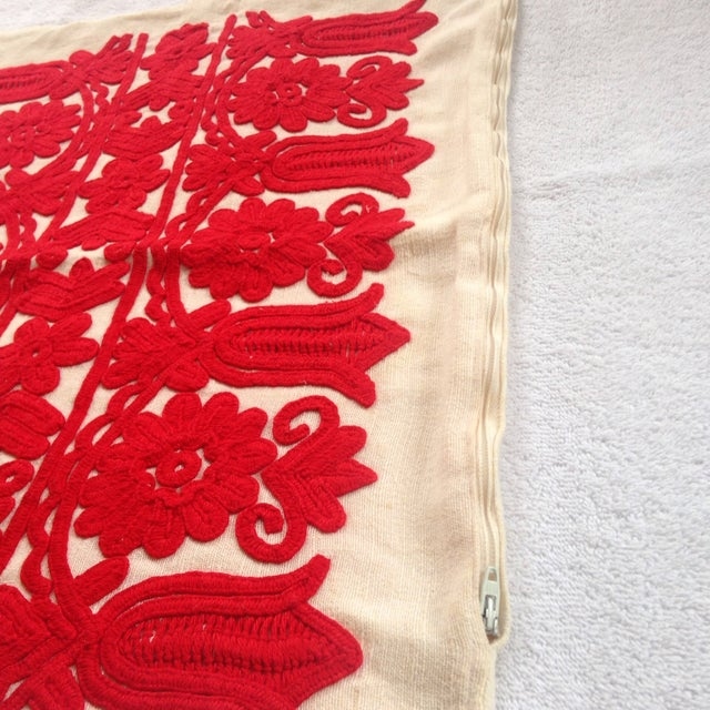Image of Vintage Red Embroidered Linen Pillowcase