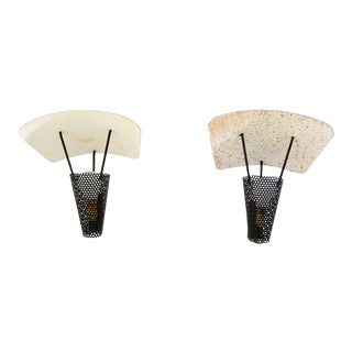 Mid-Century Modern Pair of French Wall Sconces, Jacques Biny