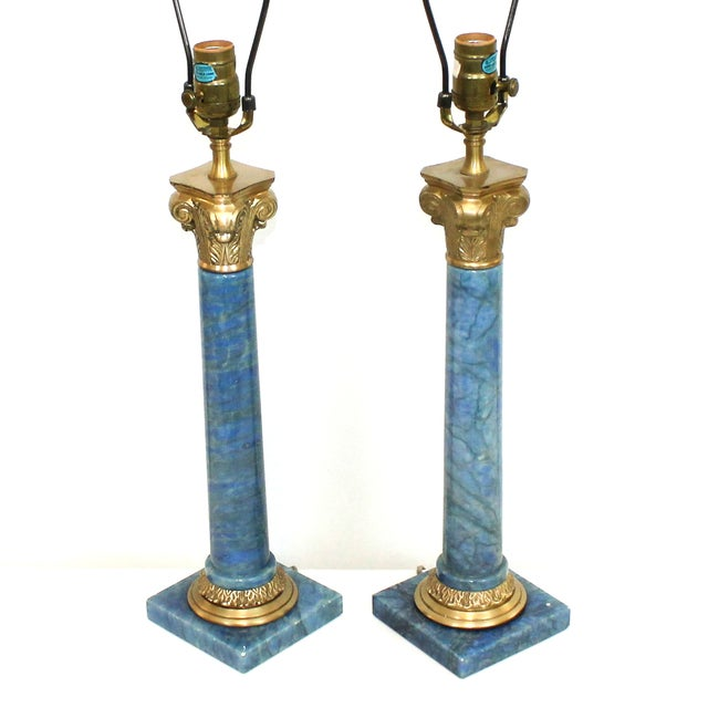 Hollywood Regency Neoclassical Column Lamps - Pair - Image 2 of 9