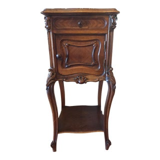 French Marble Top Walnut Nightstand