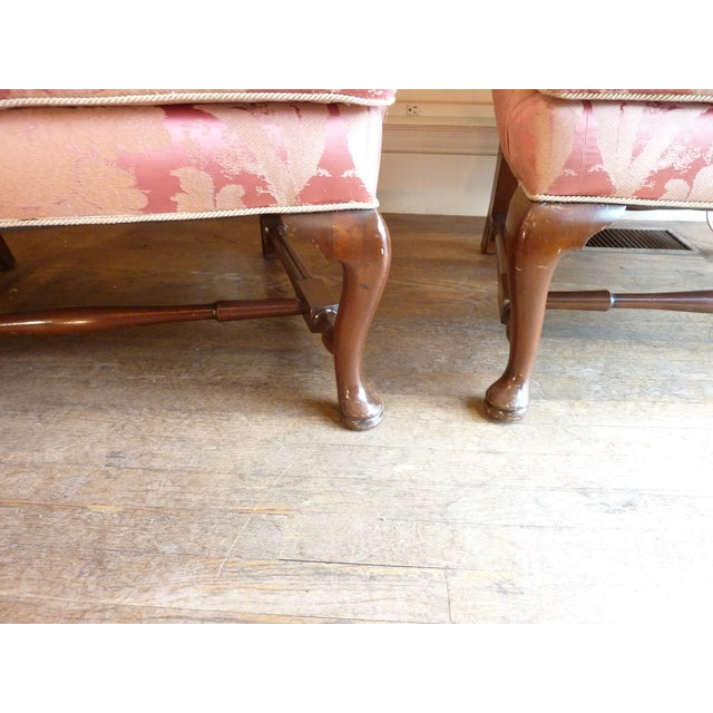 Vintage Cherry Wingback Chairs - a Pair - Image 5 of 6