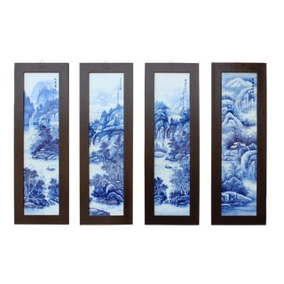 Chinese Blue & White Porcelain Wall Panels - Set of 4