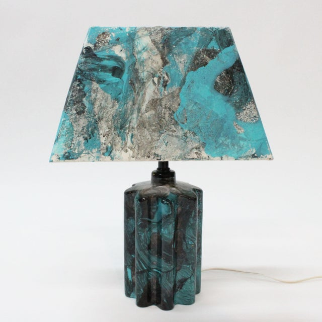 Transitional Turquoise Hand Painted Marble Lamp - Image 2 of 5