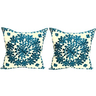 Handmade Moroccan Silk Embroidered Pillow - A Pair