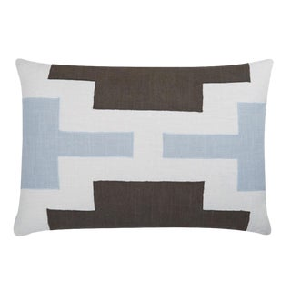 "Piper Collection Light Blue & Toffee Velvet ""Lois"" Pillow"