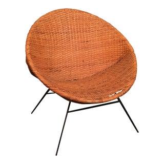 Mid Century Wicker Hoop Chair