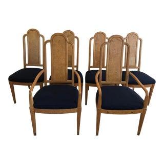 1970's Henredon Olive Burlwood Dining Chairs, Set of 6