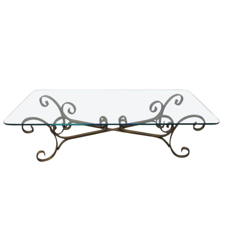 Perfect French Gilded Wrought Iron Coffee Table   Image 1 Of 5