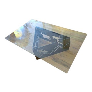 Torch Cut Steel Coffee Table with Glass Top