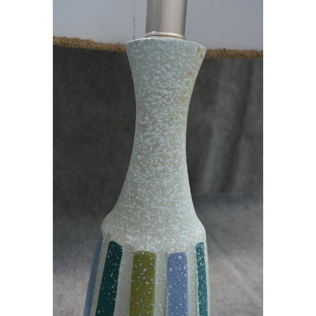 Vintage Mid-Century Striped Ceramic Lamps - A Pair - Image 6 of 8