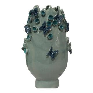 Kenneth Ludwig Flower & Butterfly Three Dimensional Vase