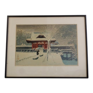 Vintage Kawase Hasui Snow Scene Woodblock Print