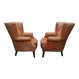 Vintage Leather Wingback Chairs - A Pair