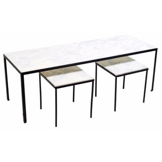 Namibian Sky Marble Coffee and Side Tables - Set of 3