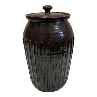 Dark Earthenware Container & Lid
