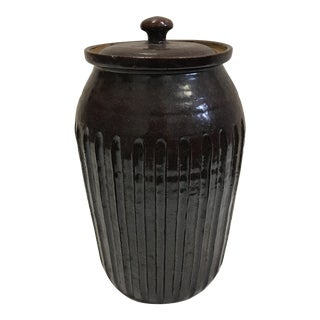 Dark Earthenware Container & Lid