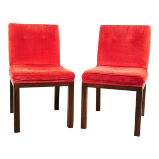 John Widdicomb Mid-Century Modern Red Orange Velvet Side Chairs- A Pair