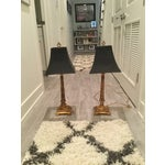 Image of Gold Table Lamps With Black Shades - a Pair