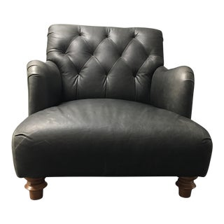 Cisco Furniture Acacia Charcoal Leather Arm Chair