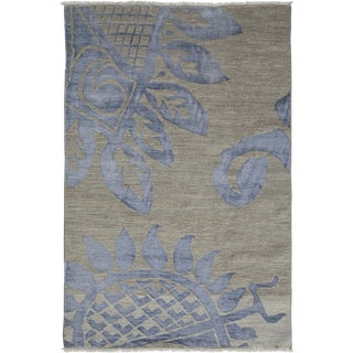 "Contemporary Hand Knotted Area Rug - 4'2"" X 6'3"""