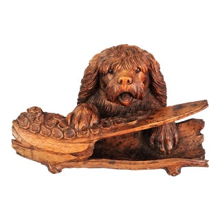 Antique Black Forest Carved Dog Inkwell & Pen Tray