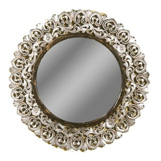 Round Floral Hand-Cut Glass Mirror
