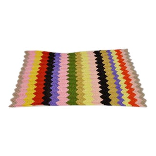 Vintage Zig Zag Afghan Crochet Throw Blanket