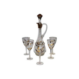 Crystal & 22K Gold Decanter & Five Glasses