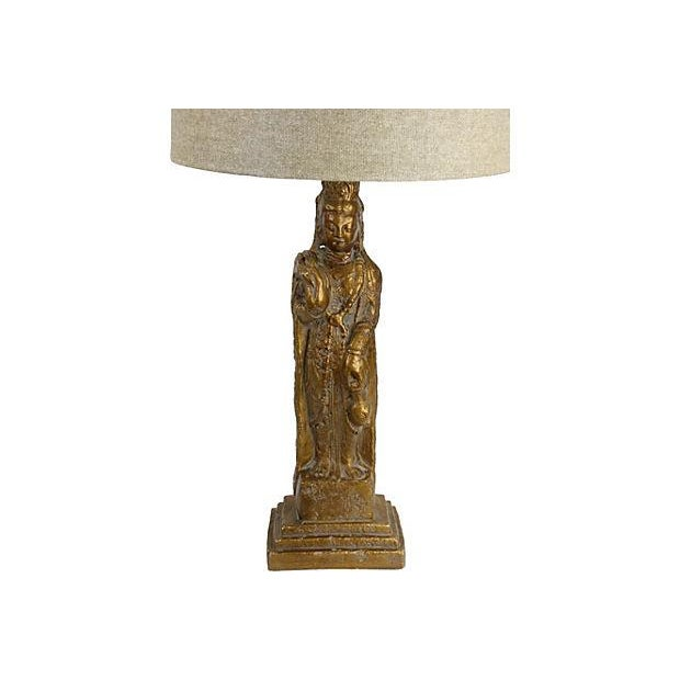 Chinoiserie Gold Guan Yin Table Lamp - Image 4 of 4