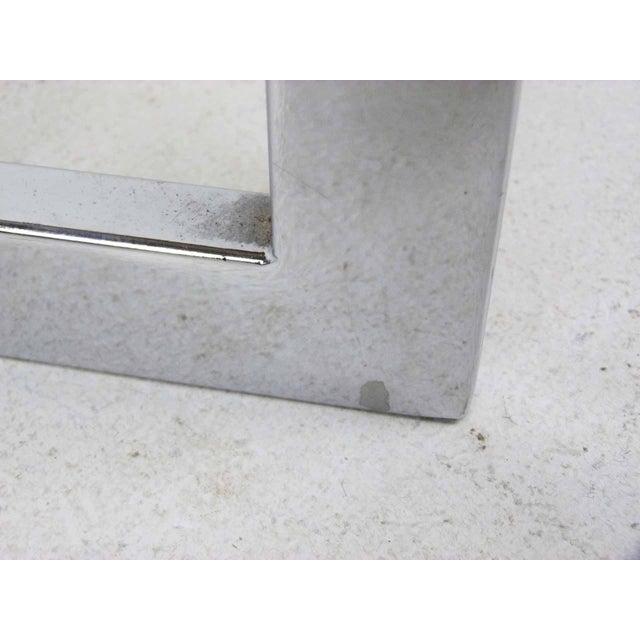 Milo Baughman Style Flat Bar Chrome Cantilever Bar Stools - A Pair - Image 9 of 10
