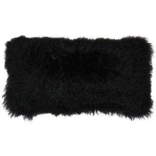Mongolian Sheepskin Black Pillow