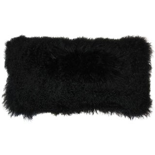 Mongolian Sheepskin Black Pillow