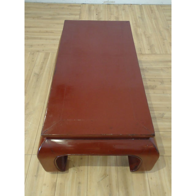 Chinese Dark Red Laquer Wood Coffee Table - Image 4 of 7