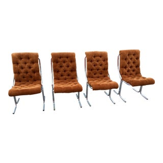 Mid-Century Modern Chrome Velour Dining Chairs - Set of 4