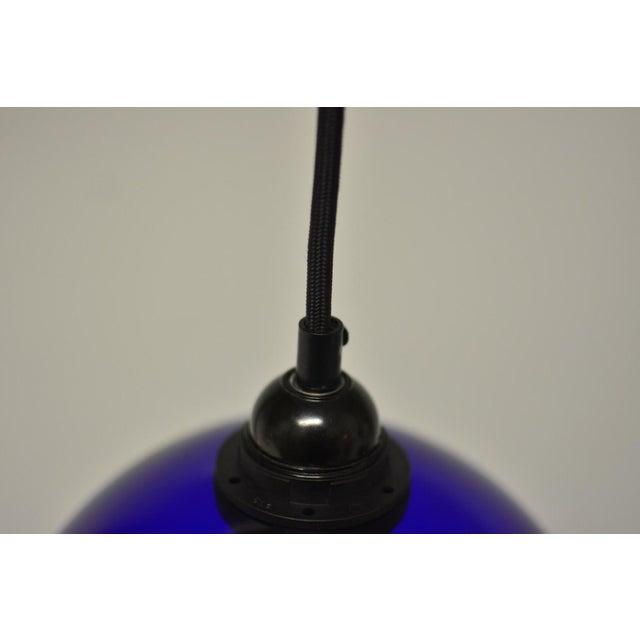Mid Century Modern Blue Glass Pendant Light