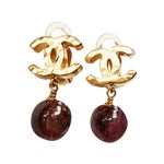 Image of Chanel Gold CC Burgundy Glass Dangle  Earrings