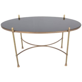 Neoclassical Style Brass and Black Granite Cocktail Table