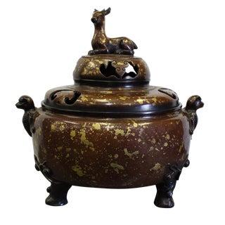 Chinese Fine Bronze Metal Deer Theme Incense Burner