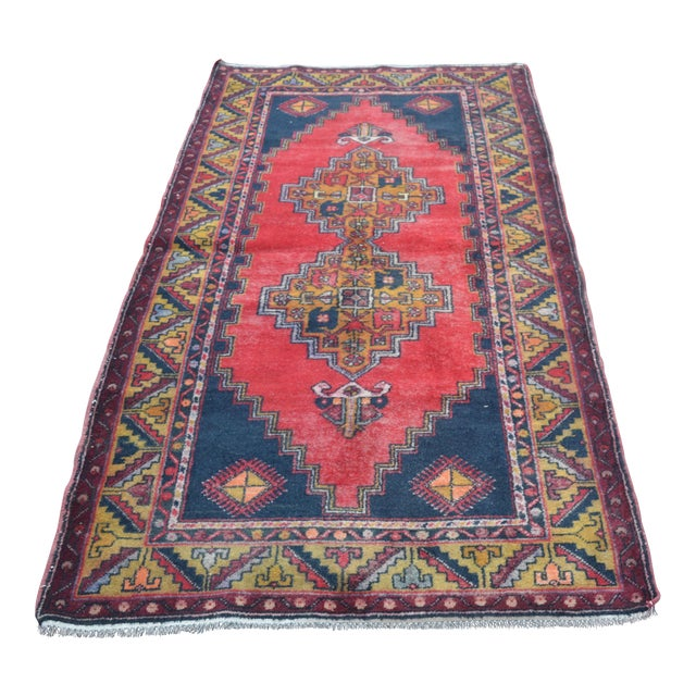 Turkish Handmade Anatolian Carpet - 4′ × 7′1″ - Image 1 of 6
