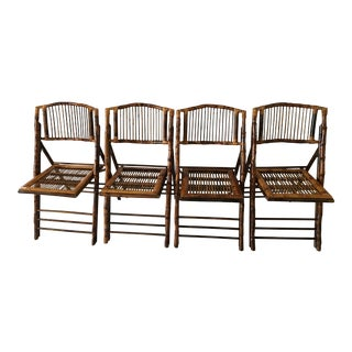 Tortoise Rattan Folding Chairs - Set of 4