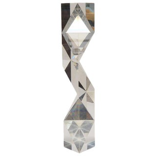 Rare and Signed Italian Alessio Tasca Tall Tower Prismatic Lucite Sculpture