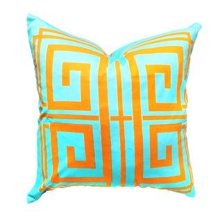 Aqua & Orange Greek Key Pillow Covers - A Pair