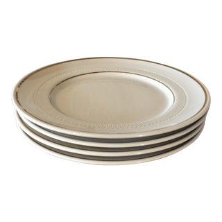 Vintage Restaurant Ware White & Gold Plates - Set of 4