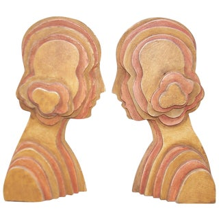 1970s Deco Inspired Wooden Bookends - A Pair